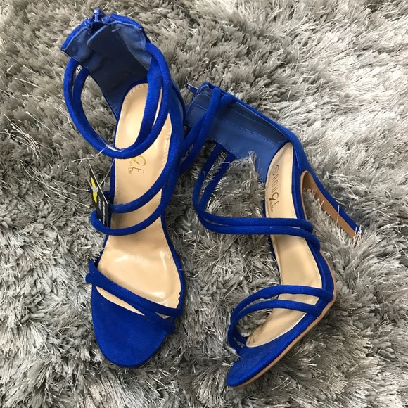 44ed5a0301 rouge Shoes | Royal Blue Suede Strappy Heels | Poshmark